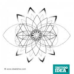Disegno per tatuaggio Mandala dotwork e geometria sacra