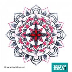 tatuare Mandala dotwork con croce centrale