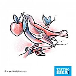 disegno tattoo uccello con ciliegia