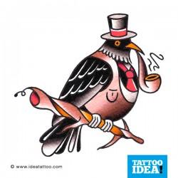 uccello con pipa e berretto