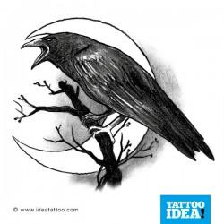 tatuaggio corvo luna