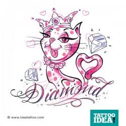 tatuaggio gatto con diamante