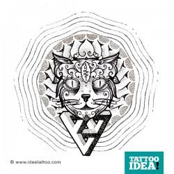 tattoo idea cat dotwork 250x250 Disegni Tattoo Gatti