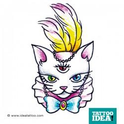 tatuaggio gatto con piuma