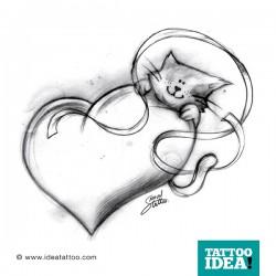 tatuaggio cuore e gatto