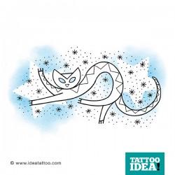 tatuaggio gatto stilizzato con stelle
