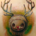 06 little lamb with reindeer horns pop surrealism tattoo by Gábor Jelencsik 150x150 Big Eyes. From art galleries to tattoos