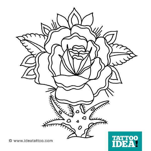 Tattoo Rose Traditional Black 250x250 Flash Roses