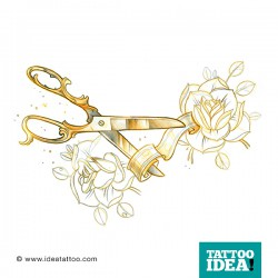 tattoo rose traditional scissors 250x250 Disegni Tattoo Rose