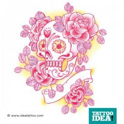 Rose e teschio messicano