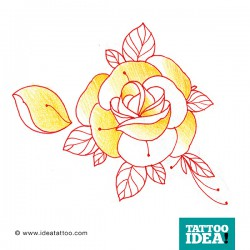 tattoo rose traditional yellow 250x250 Disegni Tattoo Rose